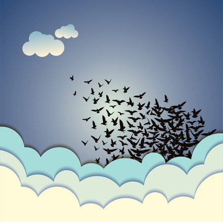 bandada pajaros: Resumen ilustración de fondo vector de los pájaros que vuelan