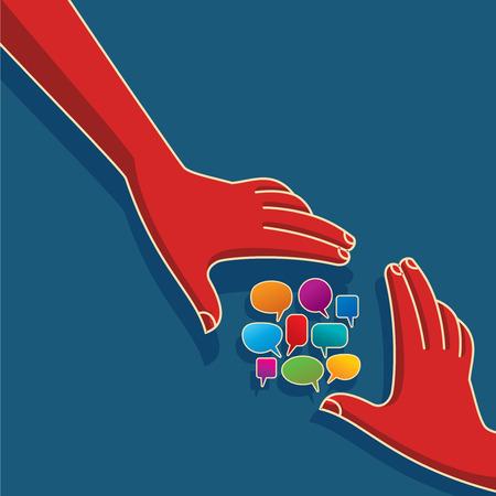 solidaridad: Discurso de burbujas con las manos