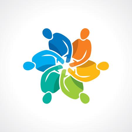 diverse family: Vector togetherness concept illustration