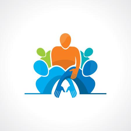 diverse group: Vector togetherness concept illustration