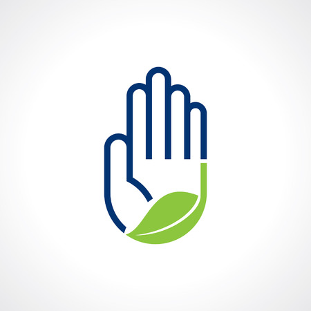 health and safety: Hand and Leaf symbol Illustration