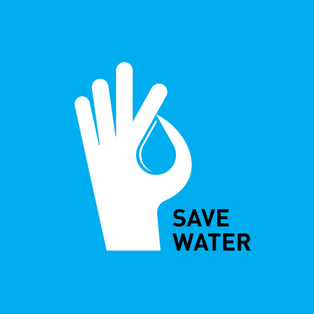 Hand protecting water , creative vector