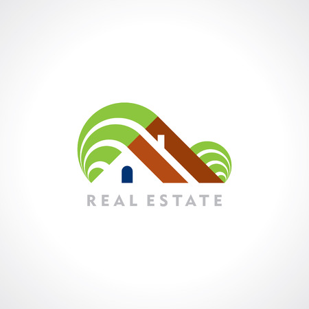 rural house: House abstract real estate countryside symbol design template  Illustration