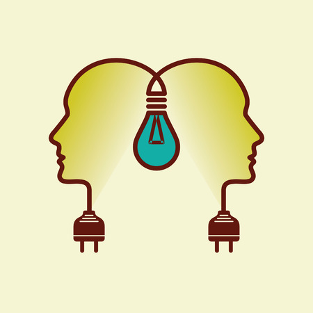 Human heads with Bulb symbol Business, concepts Vector