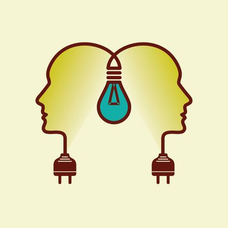 mente humana: Las cabezas humanas con negocios Bombilla símbolo, concepto