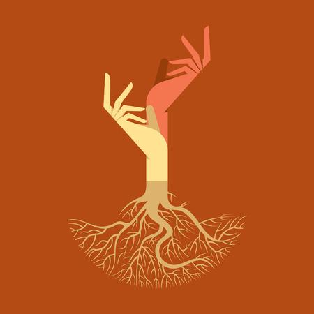 oneness: Questo vettore di fondo ha una mano con radici di albero  Vettoriali