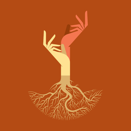 This vector background has a hand with tree roots Çizim