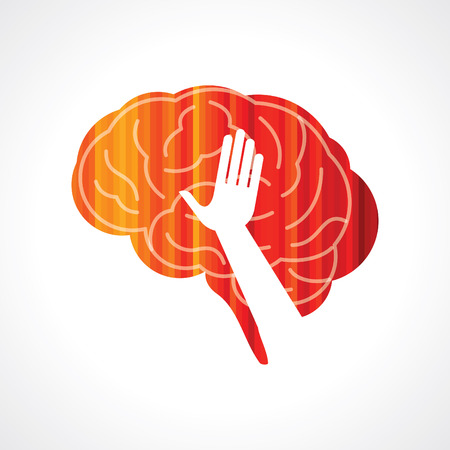 brain with hand creative concept Vector