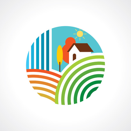 Rural landscape with a hut Vector