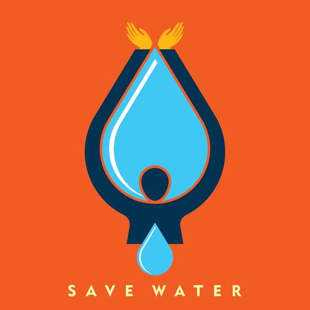 ahorrar agua: Ahorra vector del agua