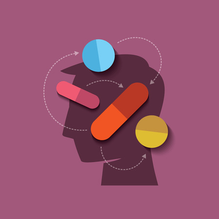 human head with medicine Vector