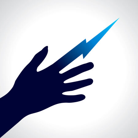 Holding a stylized electric bolt  vector