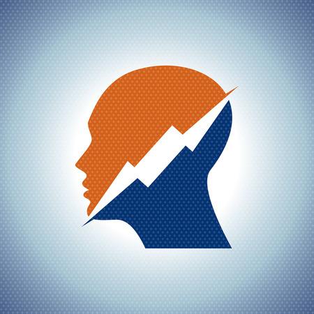 power of thinking: Thinking Head a lightning Vector illustration - Illustration
