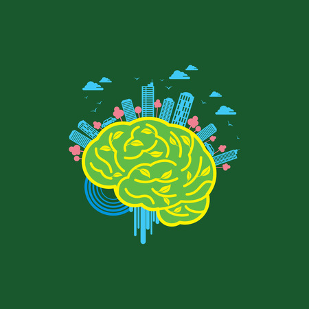 brain power: Ecology concept with brain - Illustration
