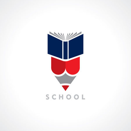 school books: Books and Pencil, education symbol Illustration