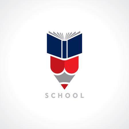 school books: Books and Pencil, education symbol Illustration
