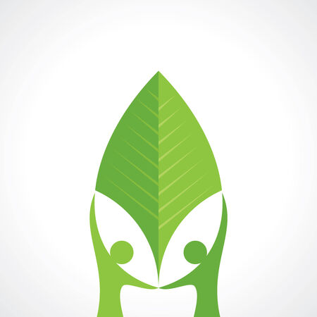hand holding plant: environmental care vector