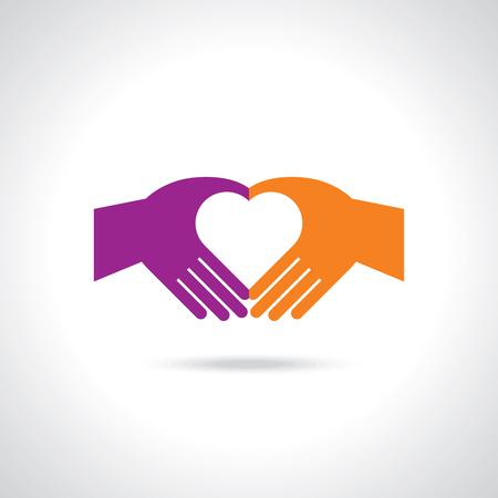 Handen in de vorm van hart