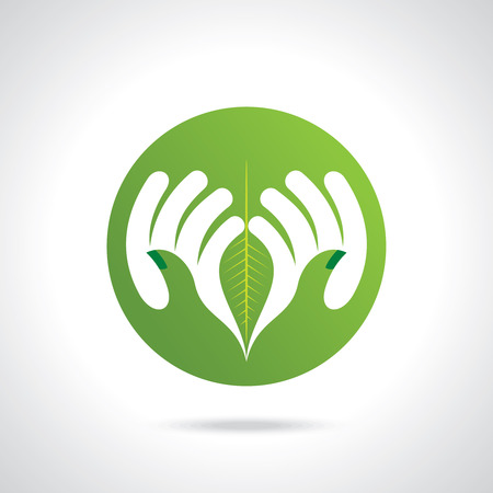 hands holding plant: environmental care vector