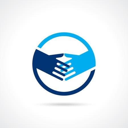 business partner: Handshake blue - shaking hands