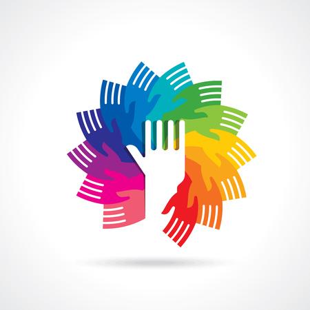 a helping hand: teamwork idea illustration