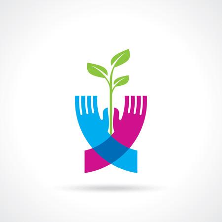 reforestaci�n: guardar el concepto de la naturaleza - Ilustraci�n Vectores