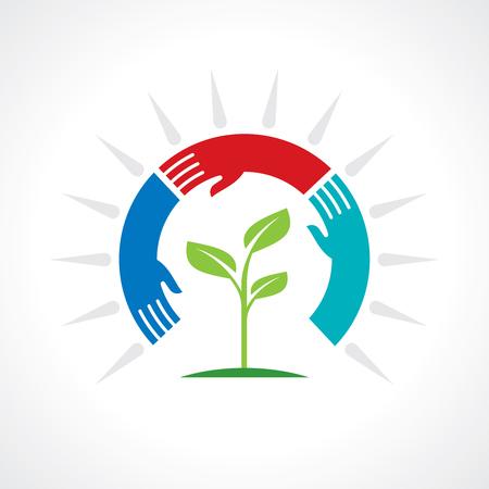 plant hand: save nature concept - Illustration