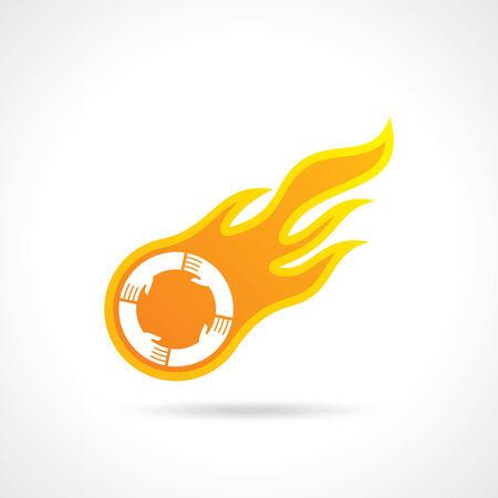 Ilustraciones de la bola de fuego con las manos