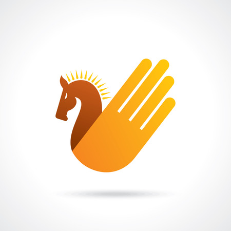 hand with horse - creative icon Vector