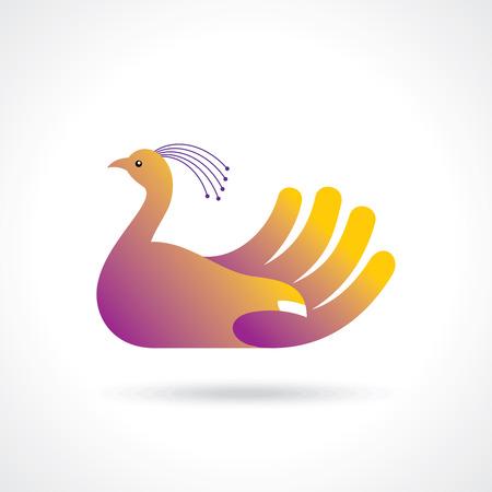 creative bird with hand  creative idea Vector