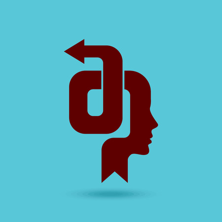 Thoughts and options head with arrow - Illustration Vector