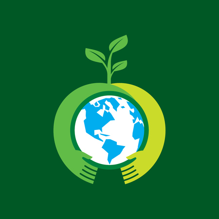 globe hand: Helping hand make tree on earth - vector illustration
