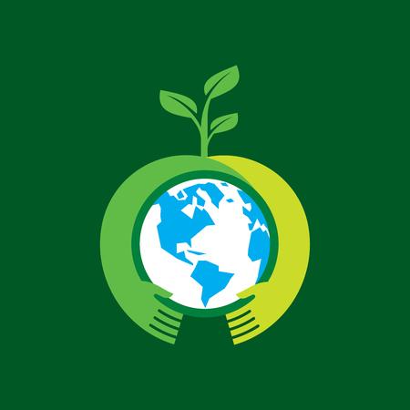 mundo manos: Mano amiga árbol de maquillaje en la tierra - ilustración vectorial Vectores