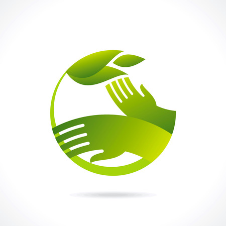 ecological symbols and signs,humans hands and green growing plants