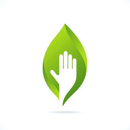 bio safety: ecological symbols and signs,humans hands and green growing plants