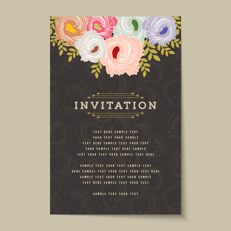 autumn fashion: Beautiful vintage invitation cards Layouts Illustration