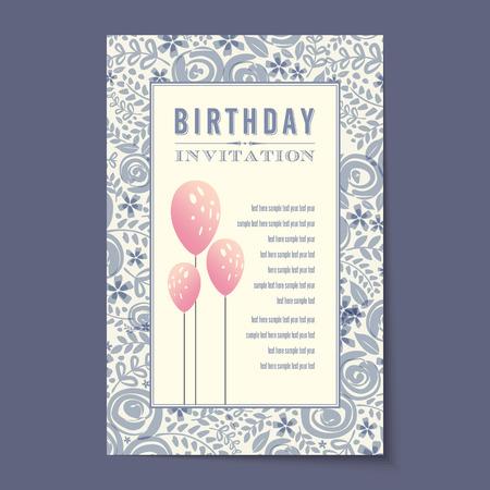 birthday party invitation: Beautiful vintage invitation cards layouts.
