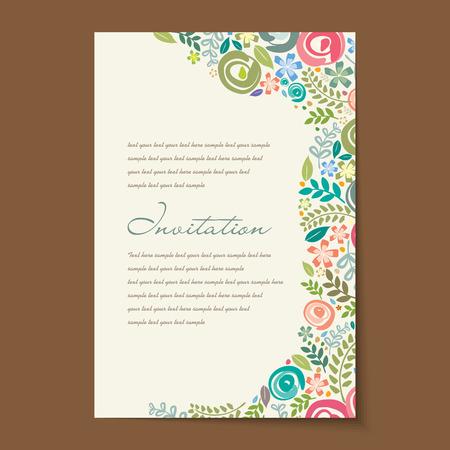 Hermosas tarjetas de invitación de la vendimia diseños. Foto de archivo - 37108948