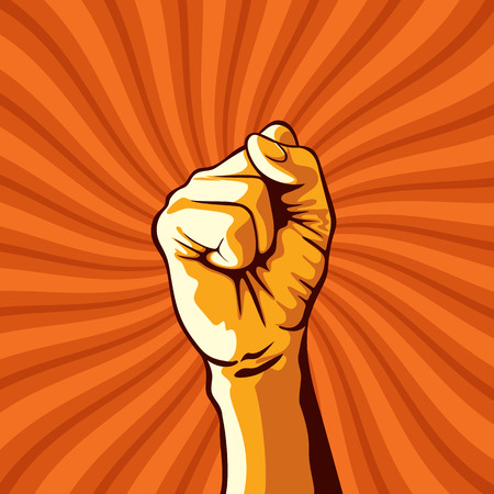 clenched fist held in protest illustration.