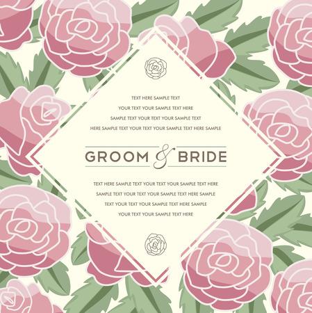 Beautiful vintage floral invitation card