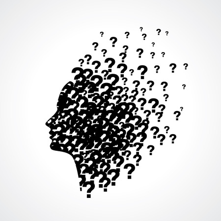Thinking man silhouette with thought