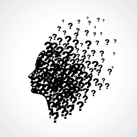 signo de admiracion: Pensando en la silueta del hombre con el pensamiento