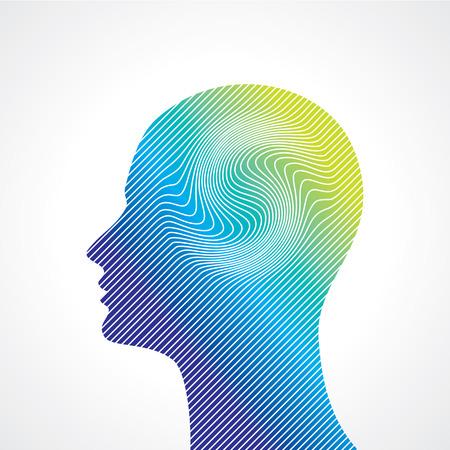 Denken man silhouet met gedachte