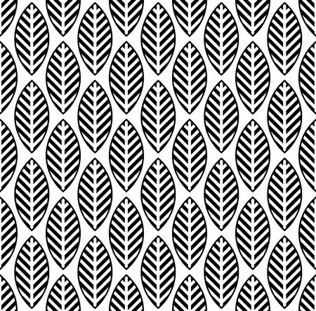 black and white leaf: black and white seamless pattern with leaf Illustration