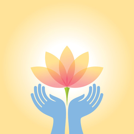 lotus leaf: beauty and health icon with elegant hand Illustration