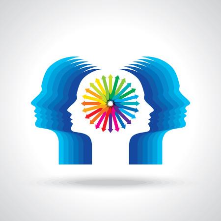 cerebro blanco y negro: Los pensamientos y las opciones de ilustración de la cabeza con las flechas