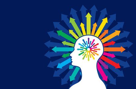 Myśli i opcje ilustracji głowy ze strzałkami Ilustracje wektorowe