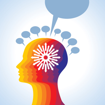 unsolvable: Thoughts and options illustration of head with arrows