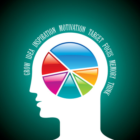 minded: open minded man with colorful pie chart graph inside. Illustration