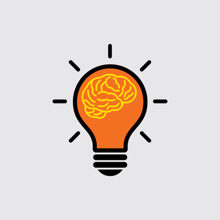 light bulb low: brain with light bulb concept Illustration